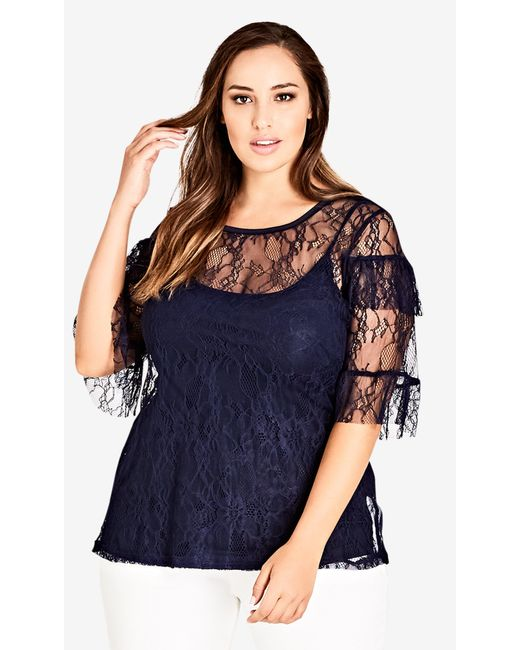 City Chic - Blue Lace Power Top - Lyst