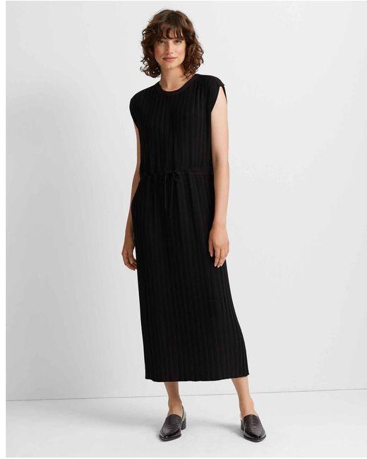 Club Monaco Navy/black Woven Pleated Maxi Dress
