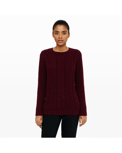 Club Monaco | Red Casey Cable Sweater | Lyst