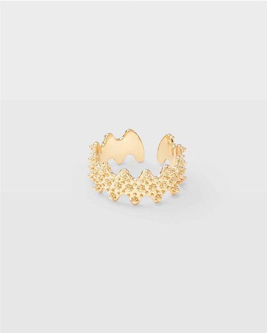 Club Monaco Metallic Yellow Gold Filigree Scallop Ring