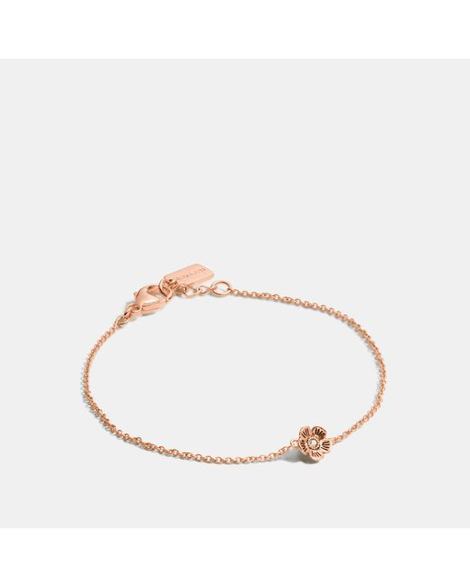 COACH - Metallic Mini Demi-fine Tea Rose Bracelet - Lyst