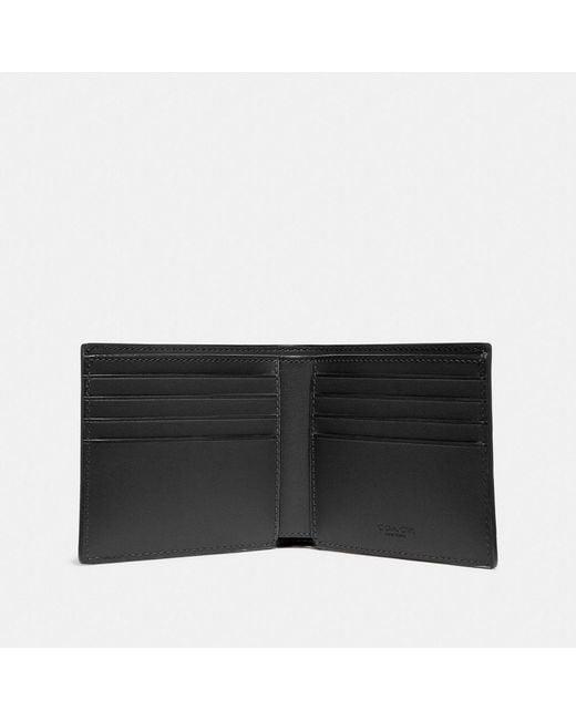 Cartera doble con billetera de piel de la firma COACH de hombre de color Black