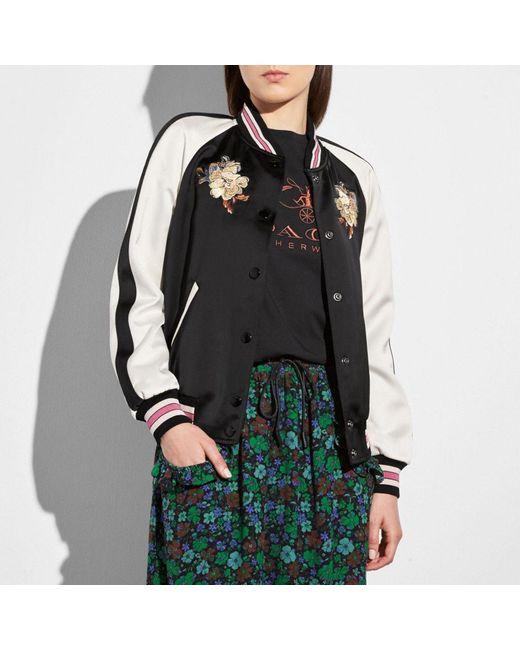 COACH   Black Reversible Satin Varsity Jacket   Lyst