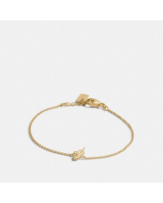 COACH | Metallic Mini 18k Gold Plated Feather Bracelet | Lyst