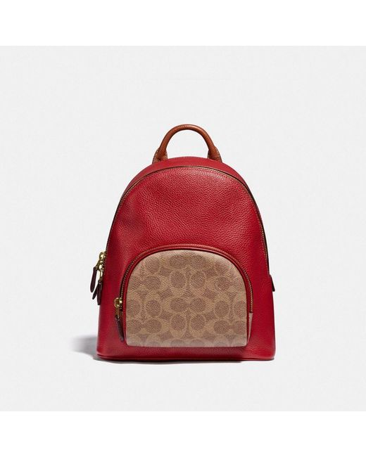Carrie Backpack 23 In Colorblock Signature Canvas di COACH in Red