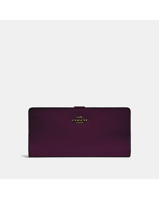 COACH - Purple Skinny Wallet - Lyst