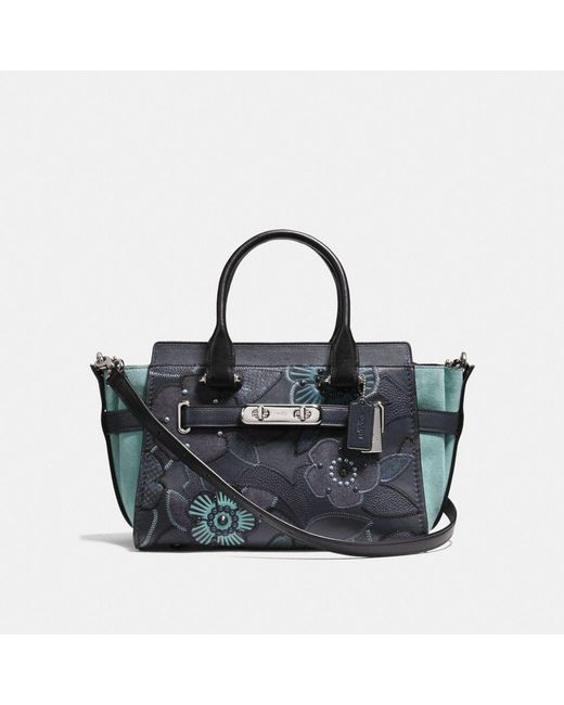 COACH - Multicolor Swagger 27 With Patchwork Tea Rose And Snakeskin Detail - Lyst
