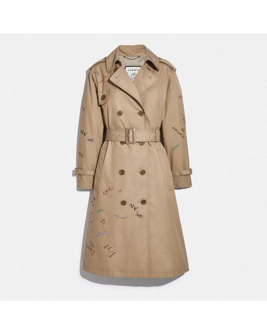 COACH Natural Embroidered Cotton Trench