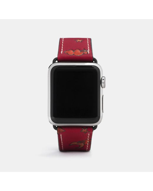 COACH - Red Apple Watch® Strap With Prints - Lyst