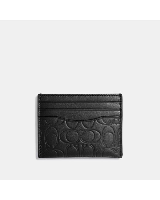 COACH - Black Card Case In Signature Leather for Men - Lyst