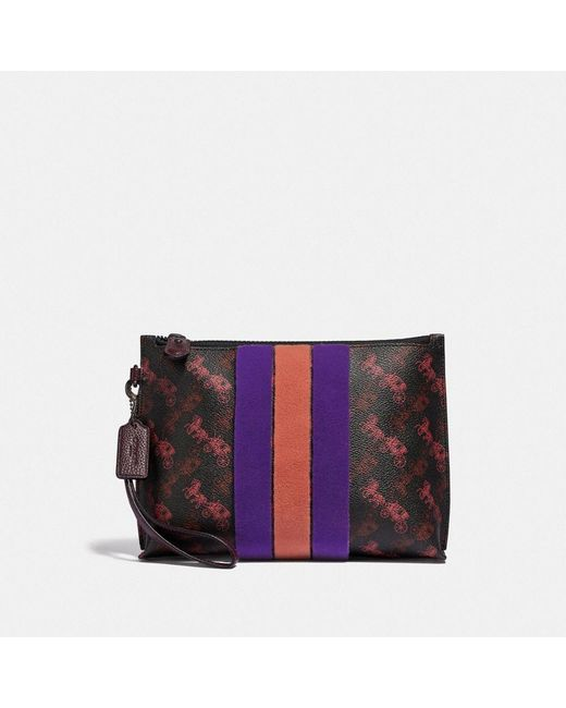 COACH Multicolor Charlie Pouch With Horse And Carriage Print And Varsity Stripe