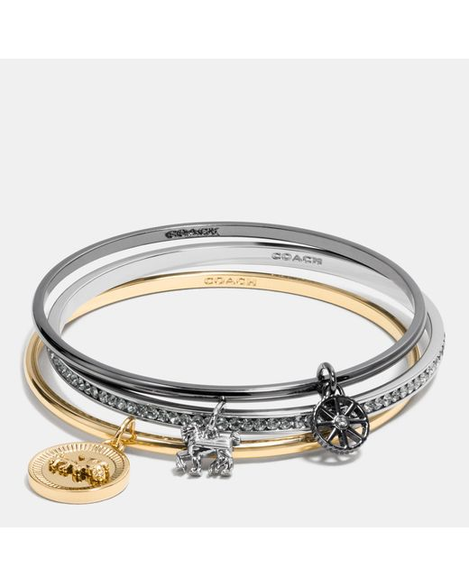 Coach Horse And Carriage Coin Mix Bangle Set In Metallic