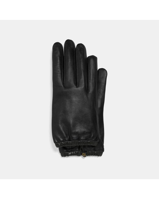 COACH Black Sculpted Signature Gathered Leather Touchscreen Gloves