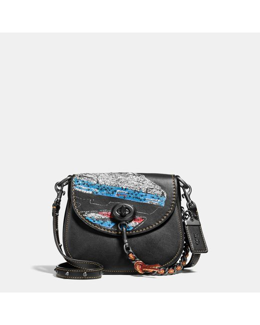 COACH | Black Turnlock Saddle Bag 17 In Glovetanned Leather With Car Embellishment | Lyst