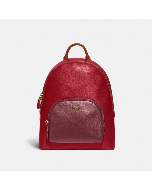 Carrie Backpack In Colorblock di COACH in Red