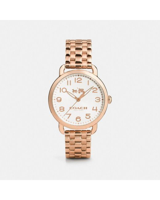 COACH - Metallic Delancey Rose Gold Sunray Dial Bracelet Watch - Lyst