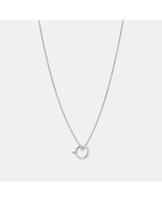 COACH Metallic Charm Base Hoop Necklace