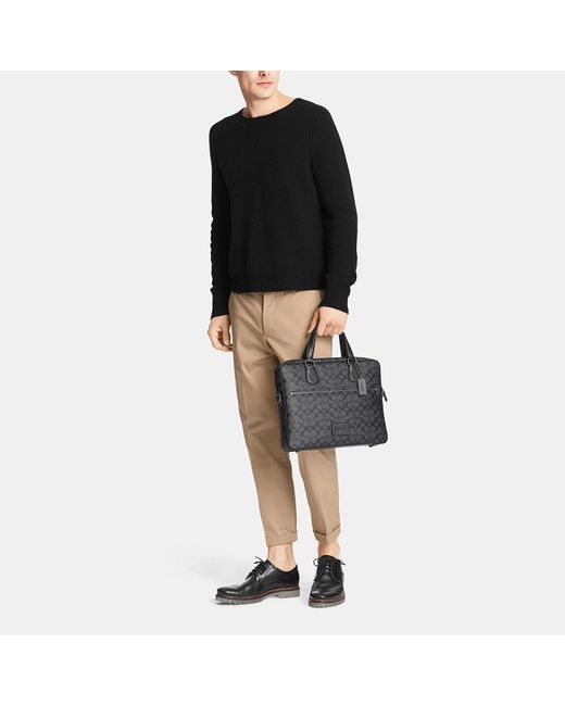 COACH | Black Hudson Bag 5 In Crossgrain Leather for Men | Lyst