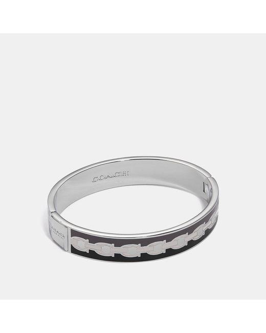 COACH Metallic Signature Chain Hinged Bangle
