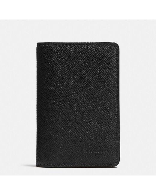 COACH | Black Card Wallet In Crossgrain Leather for Men | Lyst