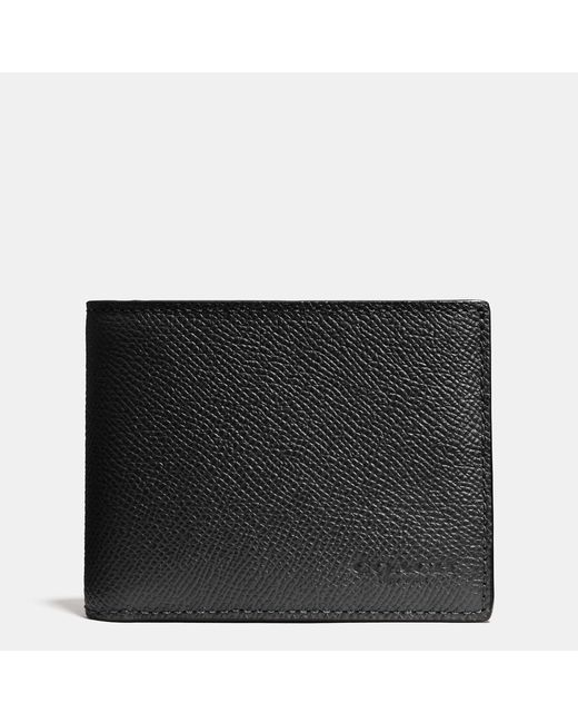 COACH | Black Slim Billfold Wallet In Crossgrain Leather for Men | Lyst