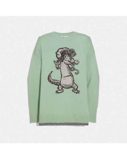 : Pull intarsia surdimensionné Crocodile Disney X COACH en coloris Green