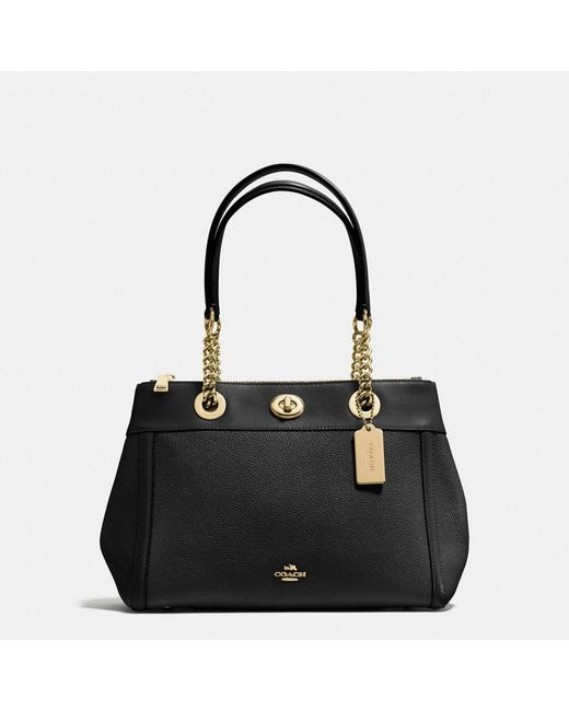 COACH | Black Turnlock Edie Carryall In Polished Pebble Leather | Lyst