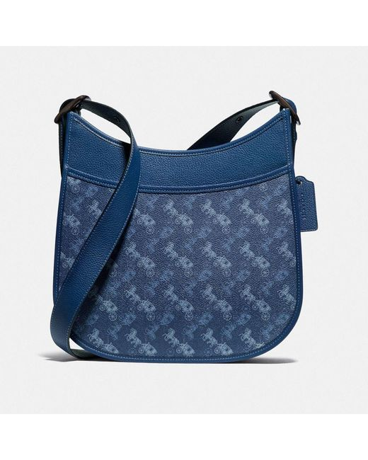 COACH Blue Emery Crossbody With Horse And Carriage Print
