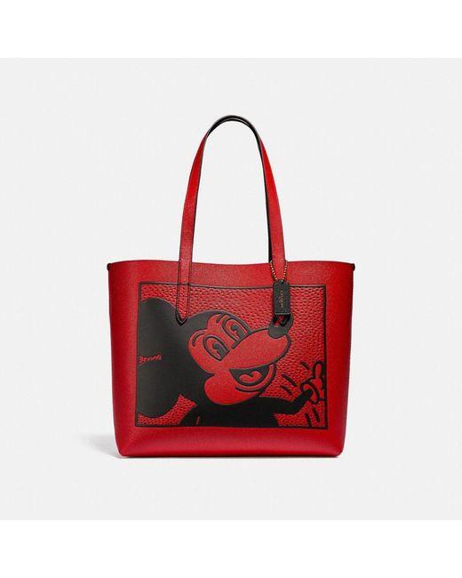 Borsa larga Highline Disney Topolino x Keith Haring di COACH in Red