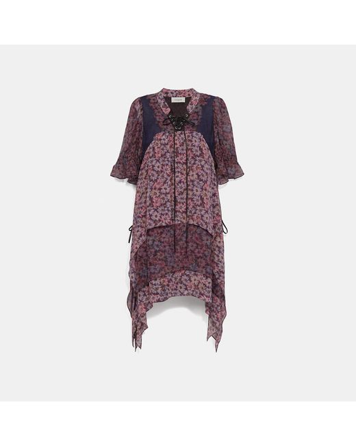COACH Multicolor Mini Tiered Dress With Lacing
