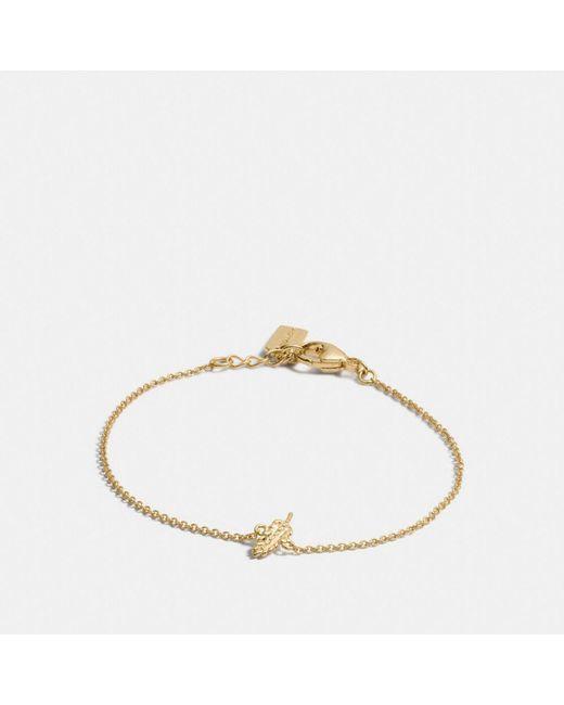 COACH - Metallic Mini Demi-fine Feather Bracelet - Lyst