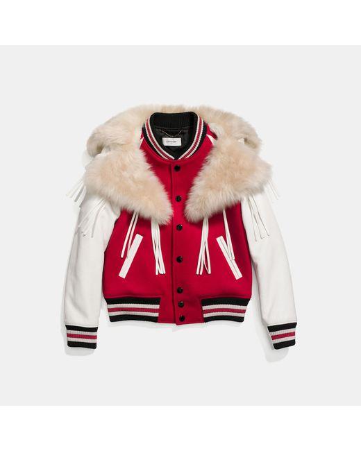 COACH - Red Varsity Jacket - Lyst
