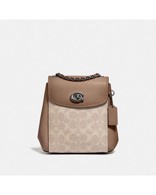COACH Brown Parker Convertible Backpack 16 In Signature Canvas