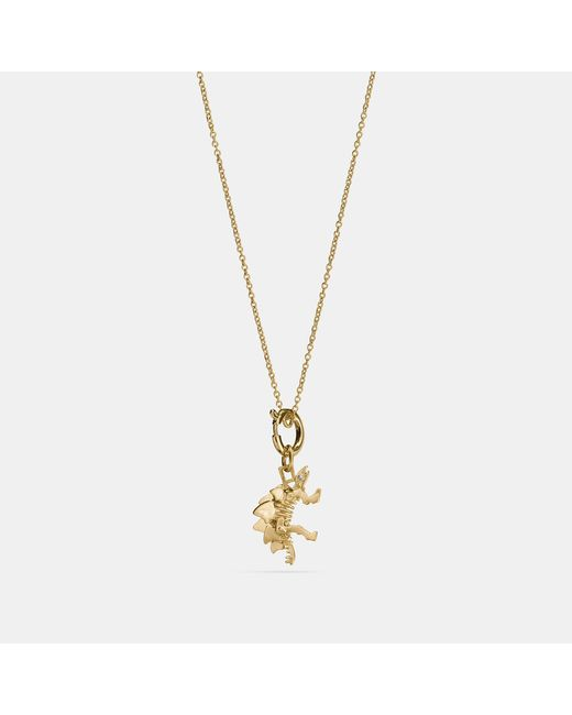 COACH - Metallic Steggy Charm Necklace - Lyst