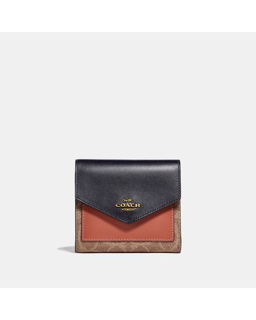 COACH Multicolor Small Wallet In Colorblock Signature Canvas