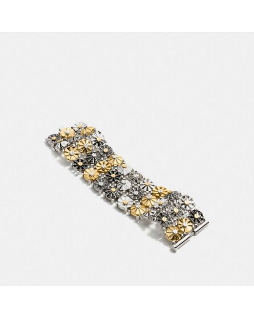 COACH - Metallic Wide Daisy Rivet Bracelet - Lyst