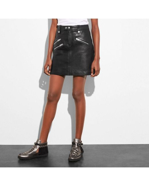 COACH - Black Multi Zip Skirt - Lyst