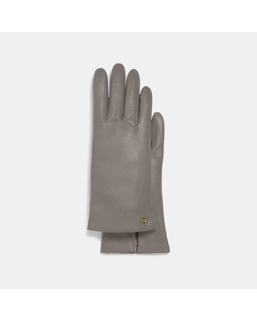 COACH Gray Sculpted Signature Leather Touchscreen Gloves