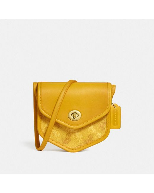 COACH Yellow Turnlock Flap Pouch 15 With Horse And Carriage Print