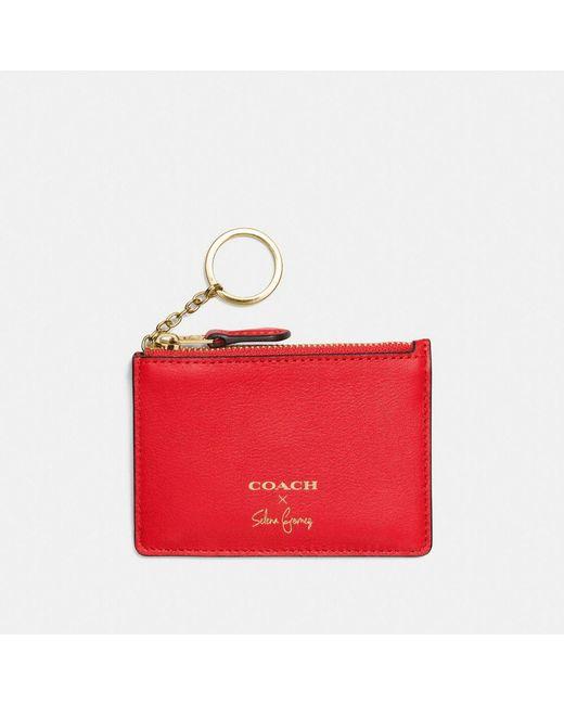COACH | Red Selena Mini Skinny Id Case In Refined Calf Leather | Lyst