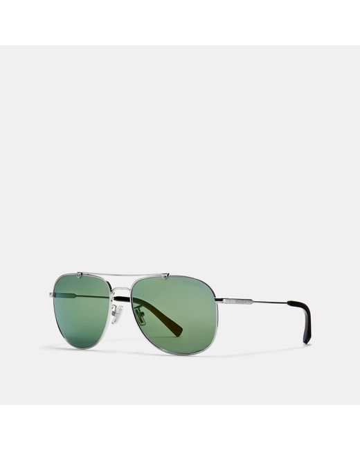 ef92c8be68 Lyst - COACH Wire Frame Navigator Sunglasses in Green for Men