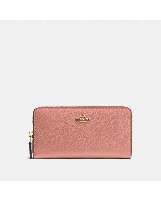 COACH - Pink Accordion Zip Wallet - Lyst