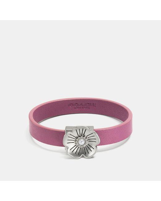 COACH - Purple Willow Floral Leather Bracelet - Lyst
