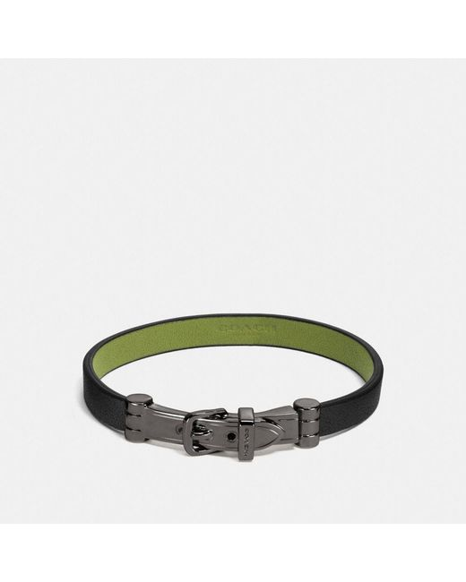 COACH | Black Two Tone Glovetanned Leather Buckle Bracelet | Lyst