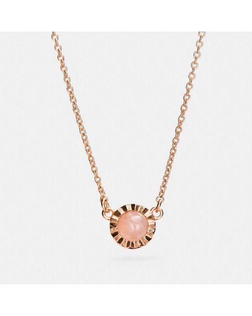 COACH - Multicolor 18k Gold Plated Sunburst Stone Necklace - Lyst
