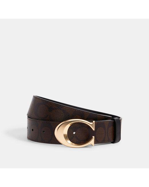 COACH Black Signature Buckle Belt, 38mm