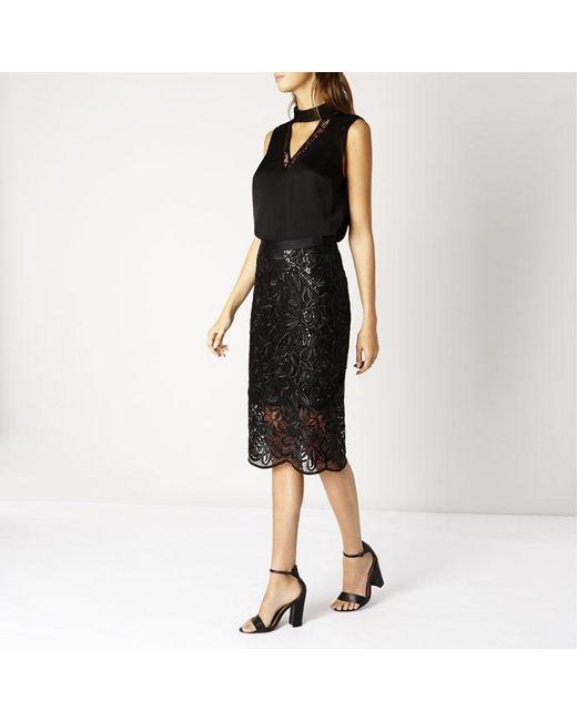 coast lillian lace pencil skirt in black save 23 lyst