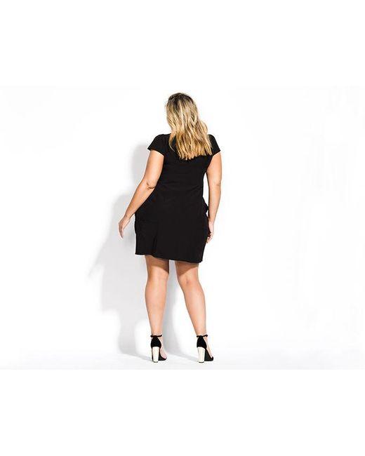 b83cf64163e ... City Chic - Black Pleated Zip Front Tunic - Lyst