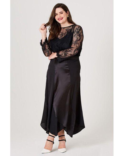 7658153852 Elvi - Black Minnie Scallop Slip Skirt - Lyst ...