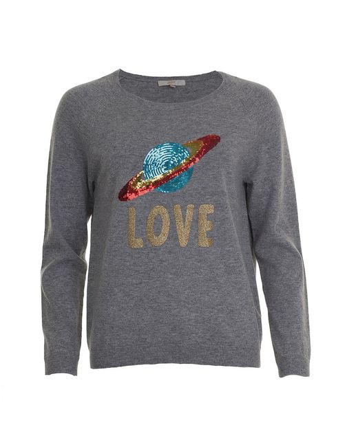 JEFF Gray Clint Planet Sequin Sweater